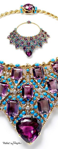 Duchess of Windsor Draperie Necklace~ by Cartier Paris, Designed and made to an order from the Duke of Windsor, who provided all the gemstones except the turquoise. High Jewelry, Bling Jewelry, Jewelry Box, Jewelry Accessories, Vintage Jewelry, Jewelry Necklaces, Jewelry Design, Bold Jewelry, Bling Bling