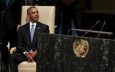 President Obama sits while being introduced to address the United Nations General Assembly in New York, September 28, 2015. REUTERS/Kevin Lamarque