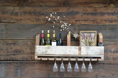 Reclaimed Wood Wall Mount Wine & Glass Holder  Nice by sugarSCOUT, $118.00