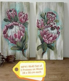 Art proteas Protea Art, Protea Flower, Flowers, Pallet Painting, Painting On Wood, Blue Flower Wallpaper, Wooden Art, Painting Lessons, Bibs
