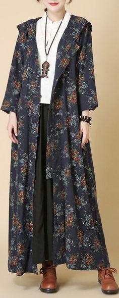 Vintage Floral Frog Hooded Long Thin Coat for Women