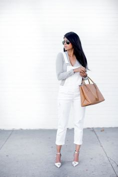 17 Ways To Wear White Overalls // grey tee, nude bag & silver metallic heels #style #fashion