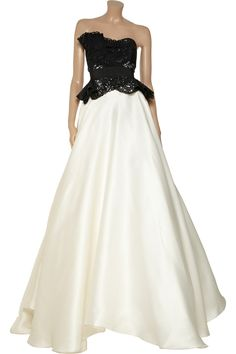 Marchesa Laser-cut silk-twill and organza gown - 55% Off Now at THE OUTNET