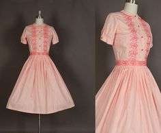 Vintage 1950s embroidered cotton pink peter pan collar day dress