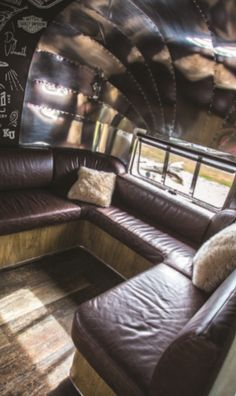 An absolutely unique project which is absolutely stunning. We loved designing and making the distressed leather lounge and other custom soft furnishings for owners Kerry and Roni. Visit our website to read a full article on this project.
