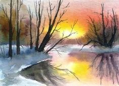 This stands for Art Cards Editions and Originals. Hand painted acrylic painting miniature by artist Natalja Picugina. Watercolor Sunset, Landscape Watercolour, Watercolor Background, Landscape Art, Watercolor Flowers, Landscape Paintings, Watercolor Paintings, Original Paintings, Watercolors