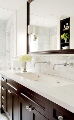 Bathroom Cabinets, Terrific Bathroom Faucets Home Depot Decorating Ideas Images In Bathroom Traditional Design Ideas With White Color Wall With Dark Brown Color Bathroom Vanity With White Sink Top ~ The Last Theme For Today Is Home Depot Bathroom Vanity Cabinet That Pretty One