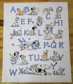 Dalmatian completed cross stitch, A to Z Sampler, point de croix, black and white dogs, finished piece, Nursery decor, wall art, hanging art by TreasuredTapestries on Etsy