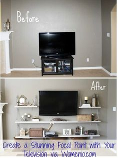 Create a Stunning Focal Point with Your Television- so much prettier than a bulky entertainment center!