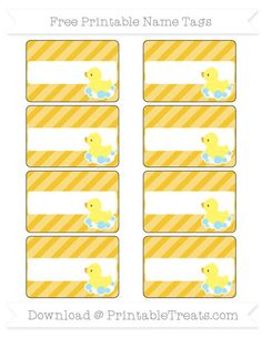 Free Saffron Yellow Diagonal Striped Baby Duck Name Tags