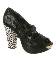 ! Black Sightseeing Leather Mary Jane Peep-Toe Pump by Irregular Choice #zulilyfinds