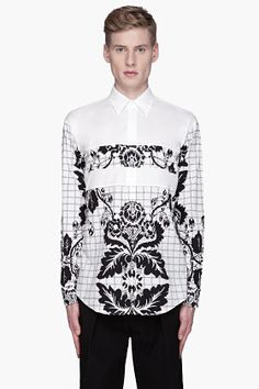 3.1 Phillip Lim | White and Black Floral Paneled Shirt