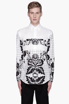 3.1 Phillip Lim White And Black Floral Paneled Shirt for men | SSENSE