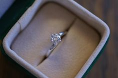 Solitaire diamond engagement ring in 18ct white  gold bespoke made by Astratelli.