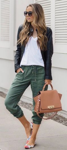 casual style inspiraton : jacket + white tee + olive pants + bag + shoes
