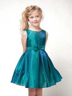 Island Blue Lovely Bow with Embellished Neckline Flower Girl Dress (Sizes Infant-12 in 3 Colors)