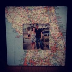 To remember your trips, take a picture while on vacation and then make a frame with a map of the area/state.