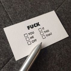 fuck it, you, them, it, off BYE - i need these cards to give to people // #rebelcircus #rebel #fuckoff #love #circus #goth #alt #emo #cool #lol #need #same #squad #socool #fam