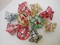 Vintage Christmas Tree Ornament LOT 10  Hard Plastic Bell Cage Reindeer Snowman