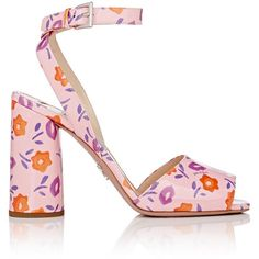 Prada Women's Patent Leather Ankle-Strap Sandals (10.527.535 IDR) ❤ liked on Polyvore featuring shoes, sandals, ankle wrap sandals, high heel sandals, floral high heel sandals, ankle tie sandals and criss cross sandals