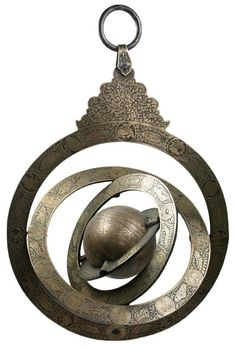 Armillary sphere with celestial globe. Rotating celestial globe, bordered by four pivotable concentric rings, the uppermost with ornamental mount. Arabic, 1125 AH (1713 CE). Engraved and etched gilt brass with lettering in Arabic. Total height from ring to base 53 cms.