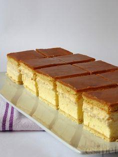 egycsipet: Karamellás krémes Hungarian Desserts, Hungarian Recipes, Baking Recipes, Cake Recipes, Dessert Recipes, Sweet Desserts, Sweet Recipes, Food Concept, Cake Bars