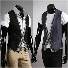 Men's Vest with  Checkered Layered Look now only $24.94 (reg 39.95). Buy direct and save big