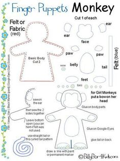 a fun finger puppet for kids. I love finger puppets! Will definitely make this Quiet Book Patterns, Felt Patterns, Craft Patterns, Stuffed Toys Patterns, Felt Puppets, Felt Finger Puppets, Hand Puppets, Finger Puppet Patterns, Bear Felt