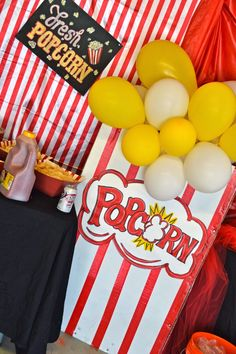 DIY- Party decor giant popcorn boxes, circus/carnival party, DIY Popcorn Boxes, Circus Party Ideas, balloons, Carnival Party, Boys Birthday Themes, DIY