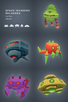 3DOcean Space Invaders Pack Low Poly 2710235