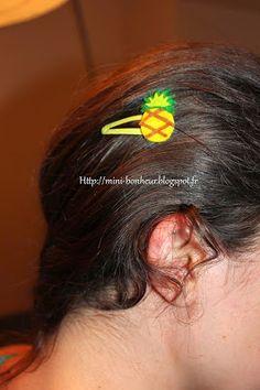 Projet DIY #1 - Ananas et Barettes ~ Mini-Bonheur Mini, Diamond Earrings, Pineapple, Bonheur, Diamond Drop Earrings