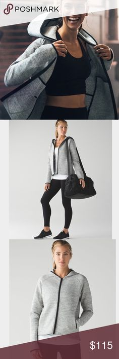 NWT Lululemon City Bound Hoodie NWT Lululemon City Bound Hoodie  Layered up or on its own, this classic zip up is the perfect companion for urban adventures  Soft spacer fabric is four way stretch   Interior pockets for your phone or card  Interior cord exit keeps your tunes close  Relaxed fit   No Trades  Thank you lululemon athletica Jackets & Coats