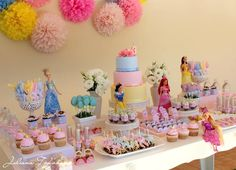 Disney Princess Party dessert table Disney Princess Party via Karas Party Ideas Kara Purple Princess Party, Disney Princess Birthday Party, Princess Theme Party, Girl Birthday, Birthday Table, Birthday Ideas, Cake Birthday, Disney Princess Cakes, Disney Themed Party