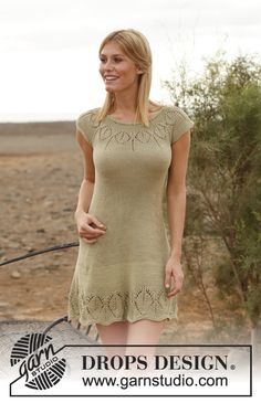 "Knitted DROPS dress with round yoke and lace pattern in ""Muskat"". Size: S - XXXL. ~ DROPS Design"