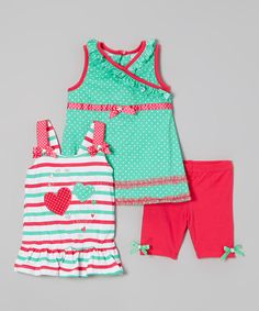 This sweet set is ready to win hearts with polka dots, stripes, hearts and bows. Ruffle accents and a stretchy fabric blend ensure these treats are just as comfy as they are cute. A dress and tank that both coordinate with the leggings allow girls to mix and match for different looks.