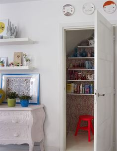 Pastels and neon unite in stylish home; idea for the closet