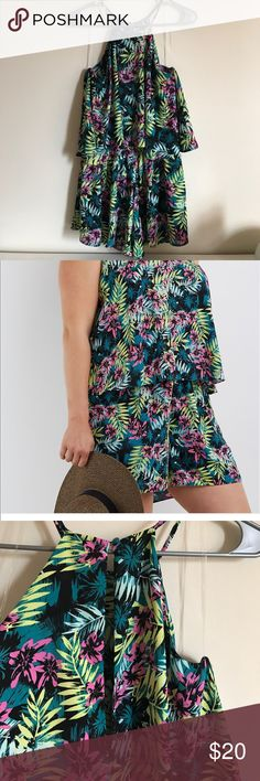 Charlotte Russe tropical print tiered romper Brand new without tags. Never worn. Fun tropical print for the summer. High neck. Buttons in back of neck. Charlotte Russe Other