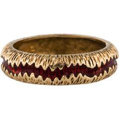 Pre-owned 18K Gold Red Enamel Band ($345) ❤ liked on Polyvore featuring jewelry, bracelets, 18k bracelet, yellow gold bracelet, enamel jewelry, red jewelry and enamel bracelet