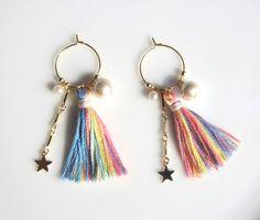 虹色タッセルと流れ星 earring/pierce