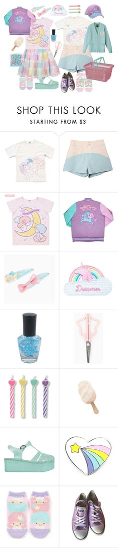 """""""Little Twin Stars"""" by thrakaboom ❤ liked on Polyvore featuring Jazzelli Designs, Forever 21, Disney, Converse, couple, pastel, sanrio, fairykei and littletwinstars"""
