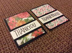 Black, white and patterned thank you cards.