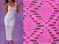 Ажурный узор крючком  ч1. Openwork pattern for the dress
