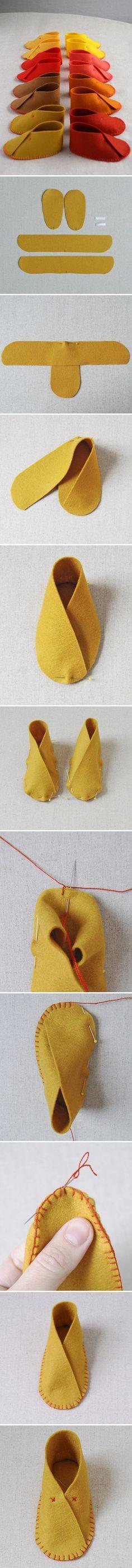 Para regalar en estas Navidades a los amigos que han tenido hijos/as, zapatillas de fieltro muy lindas!