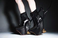 Masaya Kushino antler shoes wedges gold, black & glitter sparkly crazy boots
