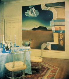 Helena Rubensteins Dining Room Featuring A Three Part Mural By Salvador Dali Representing Morning