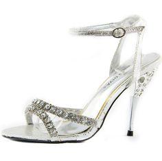 """Black or Silver Formal Open Toe 4/"""" Stiletto Heels Sandal Shoes Women Size 10"""