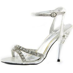 Save 10% + Free Shipping Offer * | Coupon Code: Pinterest10 Condition: Brand New Material: Man Made Material. 4 inches inches True to size, Sexy Evening Shoes Women's Wild Diva Kevina-01 Silver Rhinestone Evening Shoes