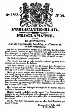 Proclamatie afschaffing slavernij op Curacao
