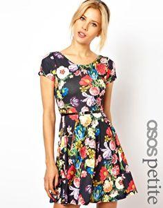 ASOS PETITE Exclusive Floral Print Skater Dress With Belt