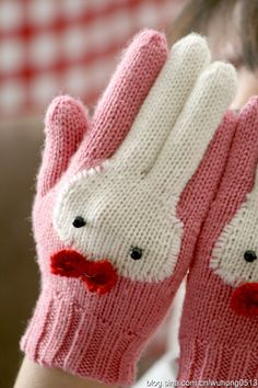 And They Call It Bunny Gloves … Cute Knitting! : And They Call It Bunny Gloves … Cute Knitting! Crochet Gloves, Knit Mittens, Knit Or Crochet, Crochet For Kids, Crochet Baby, Knitting Projects, Knitting Patterns, Desu Desu, Fingerless Mitts